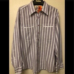 robert graham zen shirt 2xl purple white striped